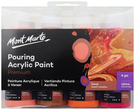 Acrylic Pouring Paint, Coral Set of 4 bottles, 120ml (4oz) each, pnt0097