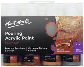 Acrylic Pouring Paint, Metallic Set of 4 bottles, 120ml (4oz) each, pnt0098