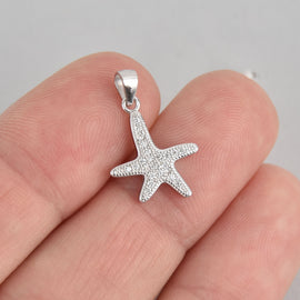 Sterling Silver STARFISH Micro Pave Charm 19x13mm, pms0439