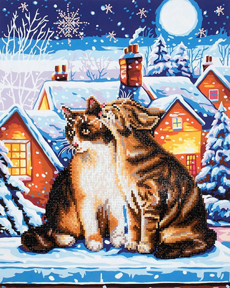 "Rhinestone Painting Kit, STARS & WHISKERS Cat, Diamond Dotz Diamond Embroidery, Diamond Facet Art, Bling Wall Art, 16x20"" canvas, kit0145"