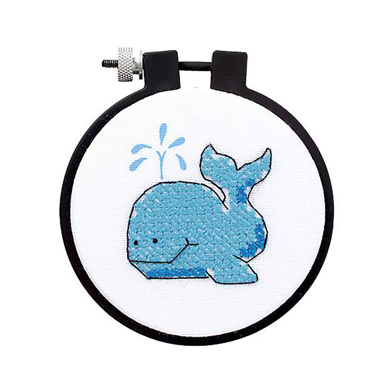 "Stamped Cross Stitch Kit, Whale Pattern, 3"" complete DIY kit, kit0264"