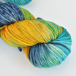 Hand Dyed Wool Yarn 100% SW Extrafine Merino, Cosmic Rainbow, 115g, Yrn0016