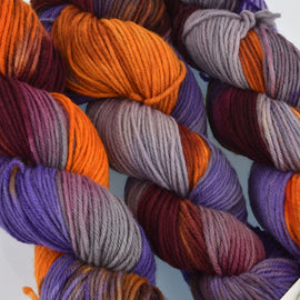 Hand Dyed Wool Yarn 100% Highland Wool, Toil and Trouble, 100g, yrn0018
