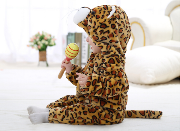 Cute Animal Hooded Baby  Romper - Leopard