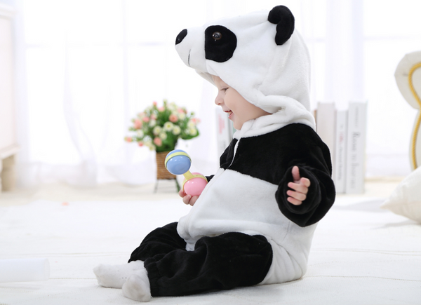 Cute Animal Hooded Baby  Romper - Panda