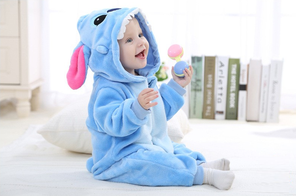 Cute Animal Hooded Baby  Romper - The Blue