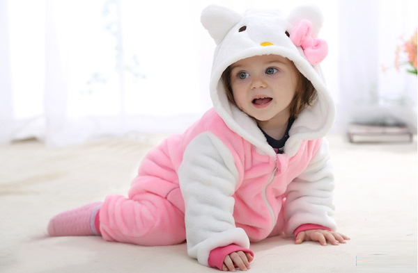 Cute Animal Hooded Baby  Romper - Kitty