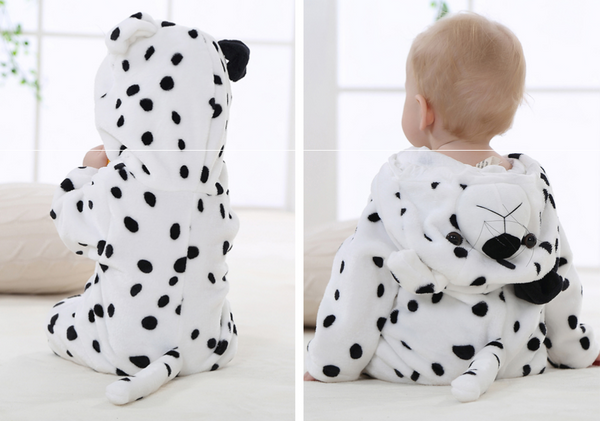 Cute Animal Hooded Baby  Romper - Black Spots
