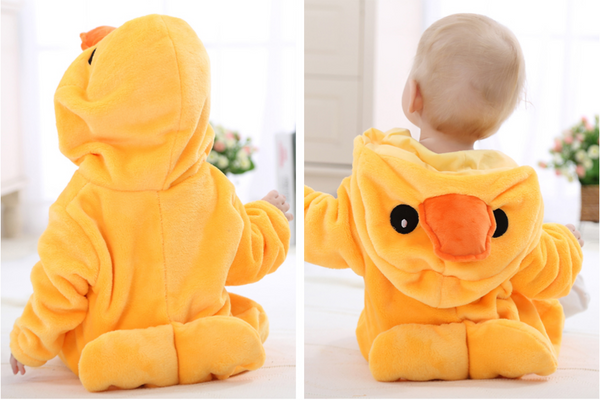 Cute Animal Hooded Baby  Romper - Yellow Duck
