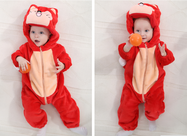 Cute Animal Hooded Baby  Romper - Red Fox