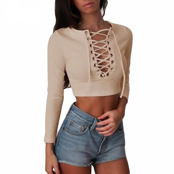 Lace Up Cropped T-Shirt