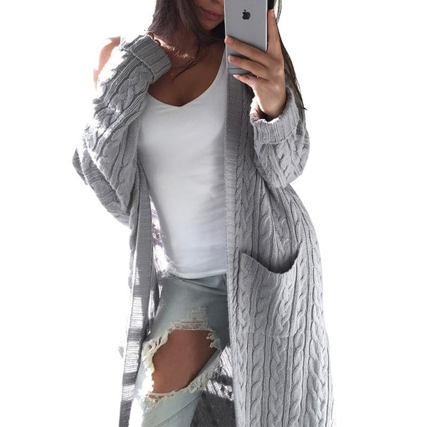Long Sleeve  Open Front Loose Fit Cardigan