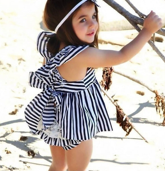 Navy Striped Baby Girl 2Pc Set