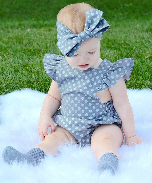 Polka Dot Butterfly Sleeve Sunsuit  2Pcs