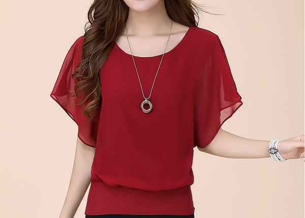 Summer Chiffon Blouse Plus Size