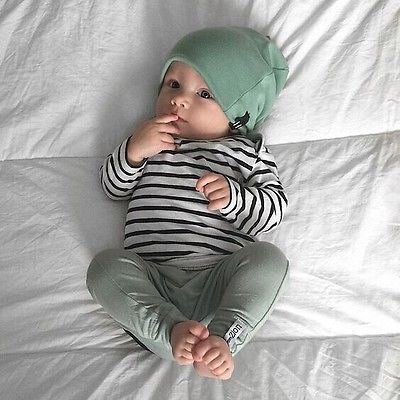 Green and White Striped 3 piece Set