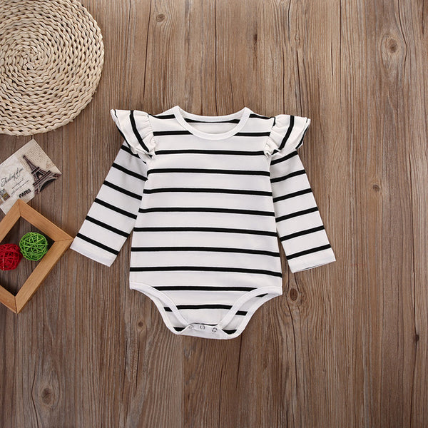 Cute baby clothes striped long sleeve romper for girls