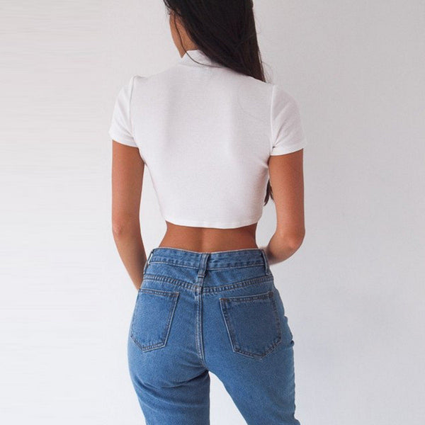 Lace Up Cropped Short Sleeve T-Shirt