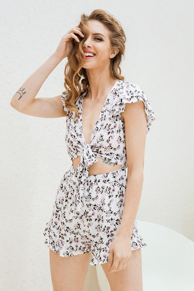 Blackless Floral Print Bow Romper with Ruffle