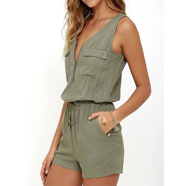 Olive Front Zipper Rompers