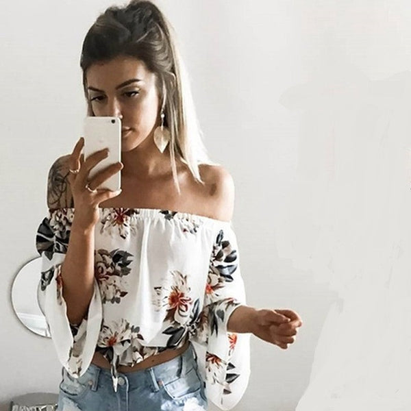 Off Shoulder Flower Print  Blouse