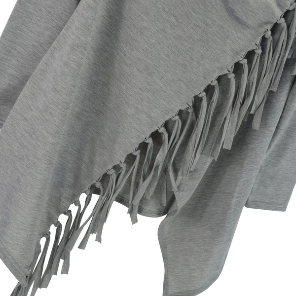 Gray - Brown Tassel Over Wrap