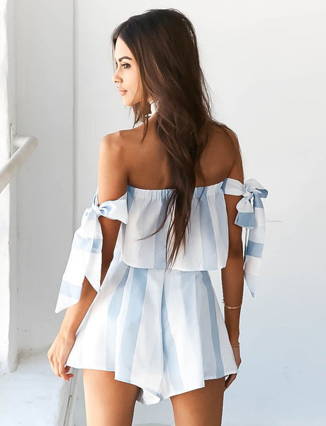 Striped off Shoulder 2 Piece Playsuit