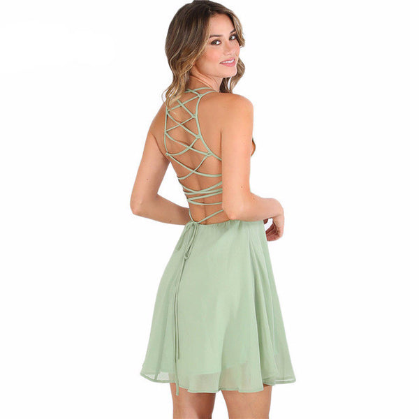Claire Cross Lace Up Backless Skater Dress