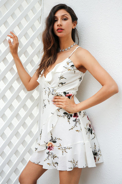 Stacee White Floral Print Wrap Dress