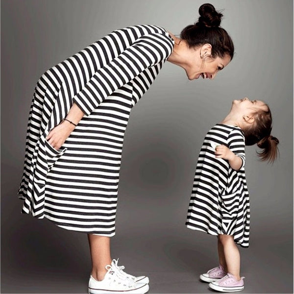 Striped Mother And Daughter Dresses