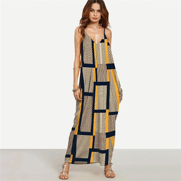 Senna Spaghetti Strap Boho  Maxi  Dress Plus Size