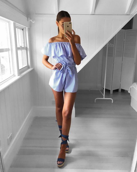 Stripe Off Shoulder Playsuit