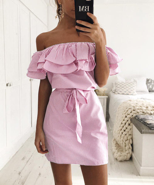 Kahlily Summer  Stripes Off Shoulder Ruffles Dress