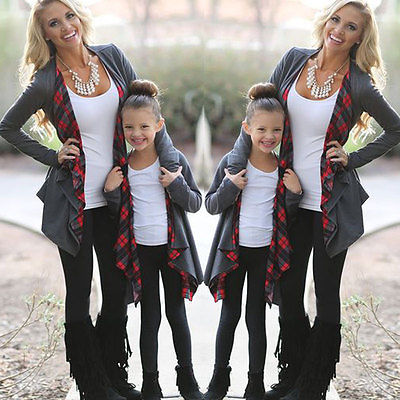 Mother And Daughter Plaid Cardigan