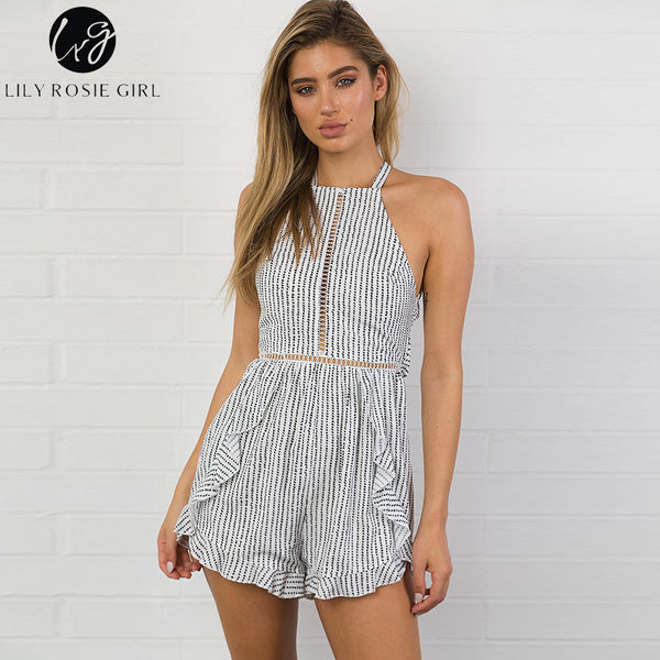 Lily Rosie Girl 2017 Fashion Women Striped Jumpsuits Sexy Backless Femme Romper Sleeveless Bodysuits Summer Beach Playsuit