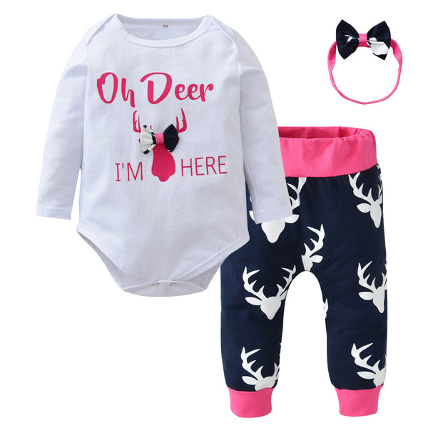 Oh Deer I'm Here 3 Pc Set - Pink
