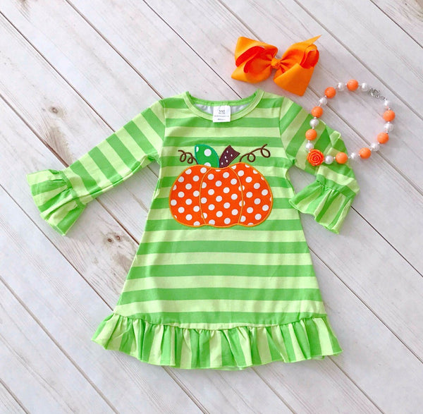 Green Striped  Pumpkin Fall Dress