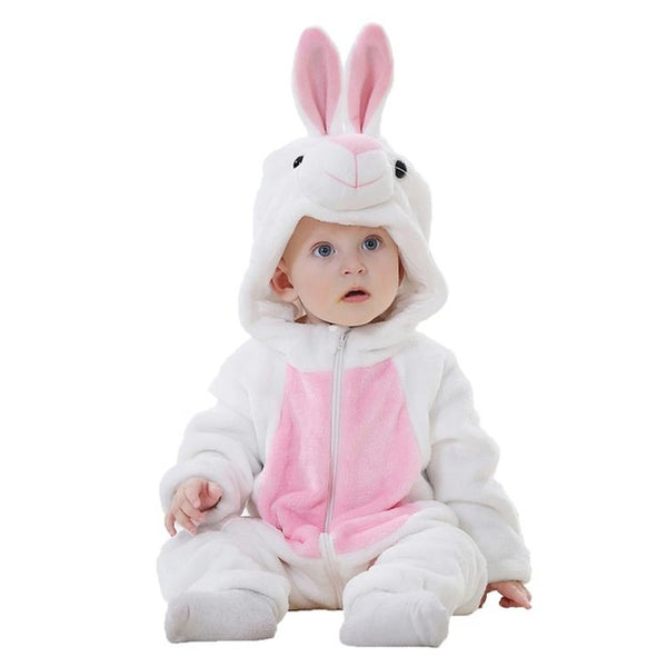 Cute Animal Hooded Baby  Romper - White Rabbit