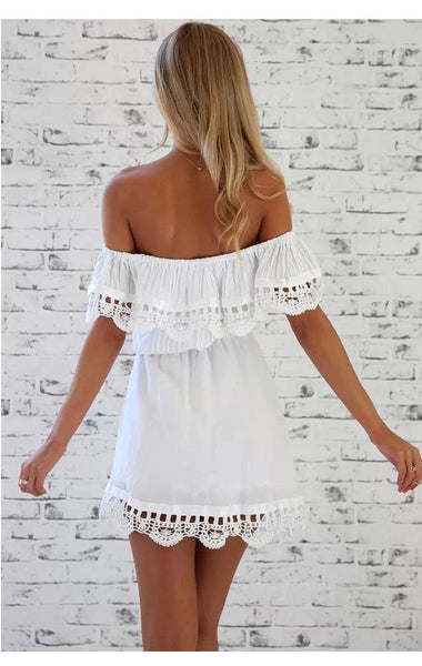 White Lace Stitching Off Shoulder Strapless Dress