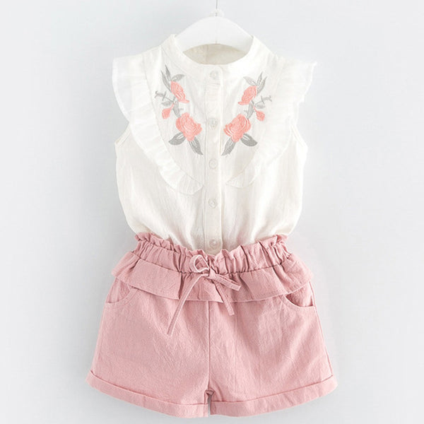 Pinky Ruffles Shirt and Pants Set