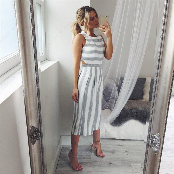 Jenna Striped  Romper