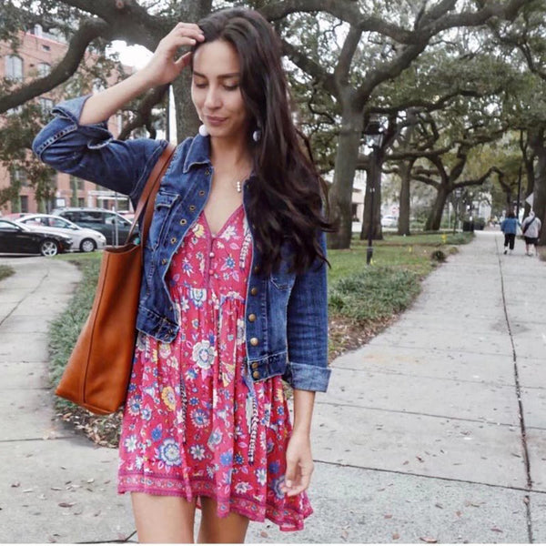 Boho Floral Birds Mini Dress