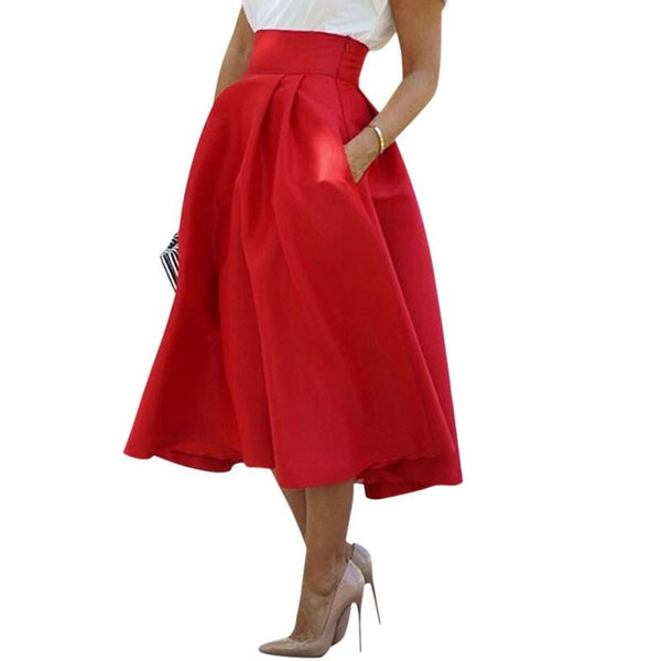 Red Retro High Waist Pleated Skirt