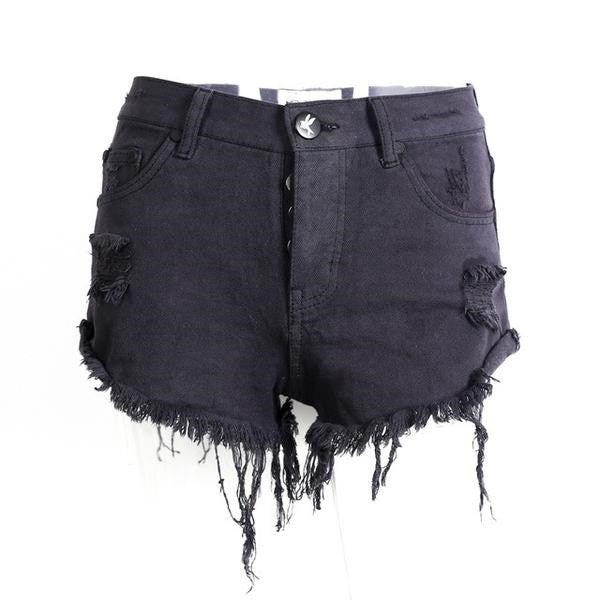 Vintage Ripped Hole Fringe Blue Denim Shorts