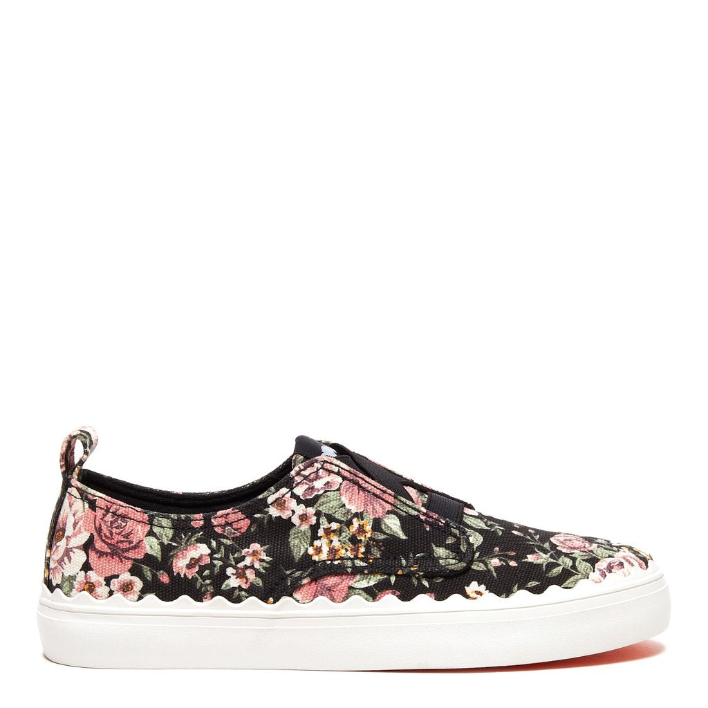 Amber Black Floral Cotton Sneaker