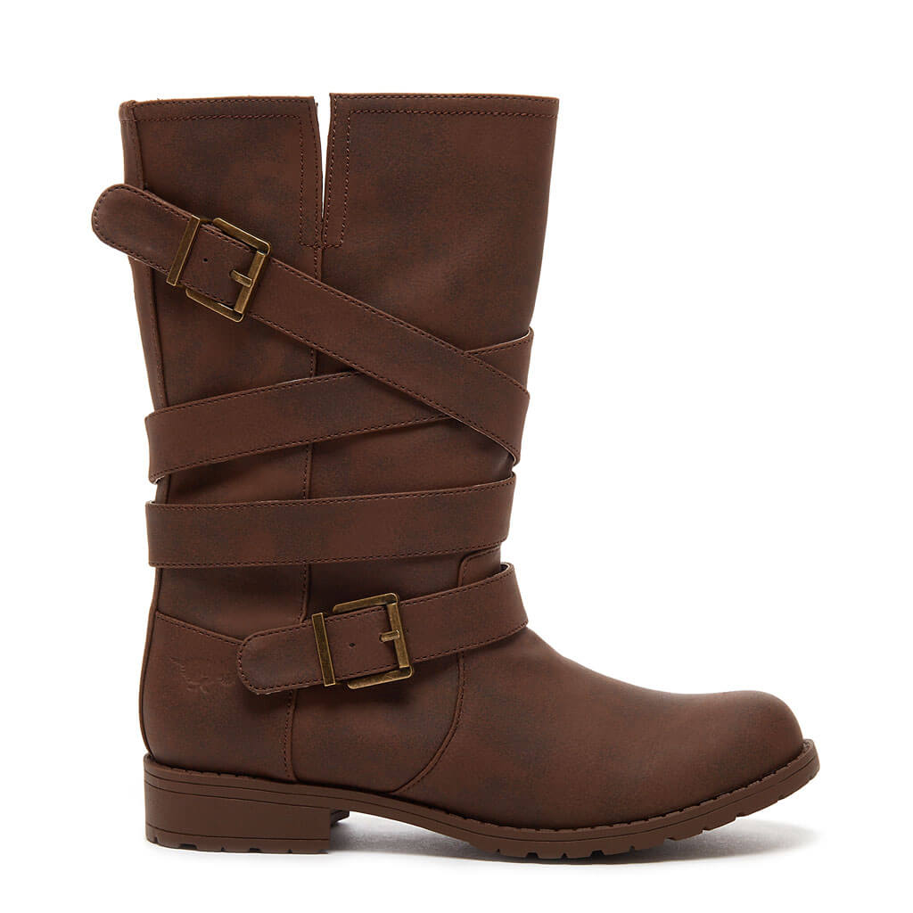 Bruly Brown Biker Boot