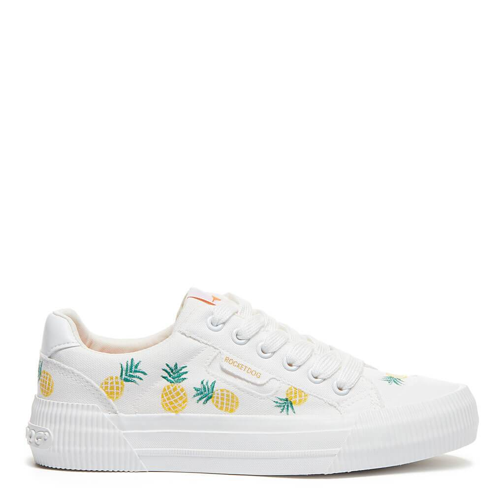 Rocket Dog® Cheery White Pineapple Hand-Painted Trainer