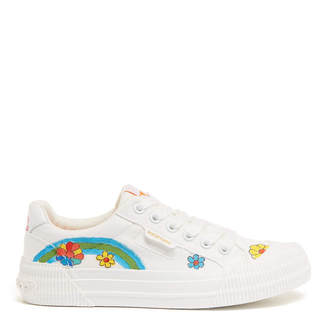 Cheery White Flower Art Sneaker