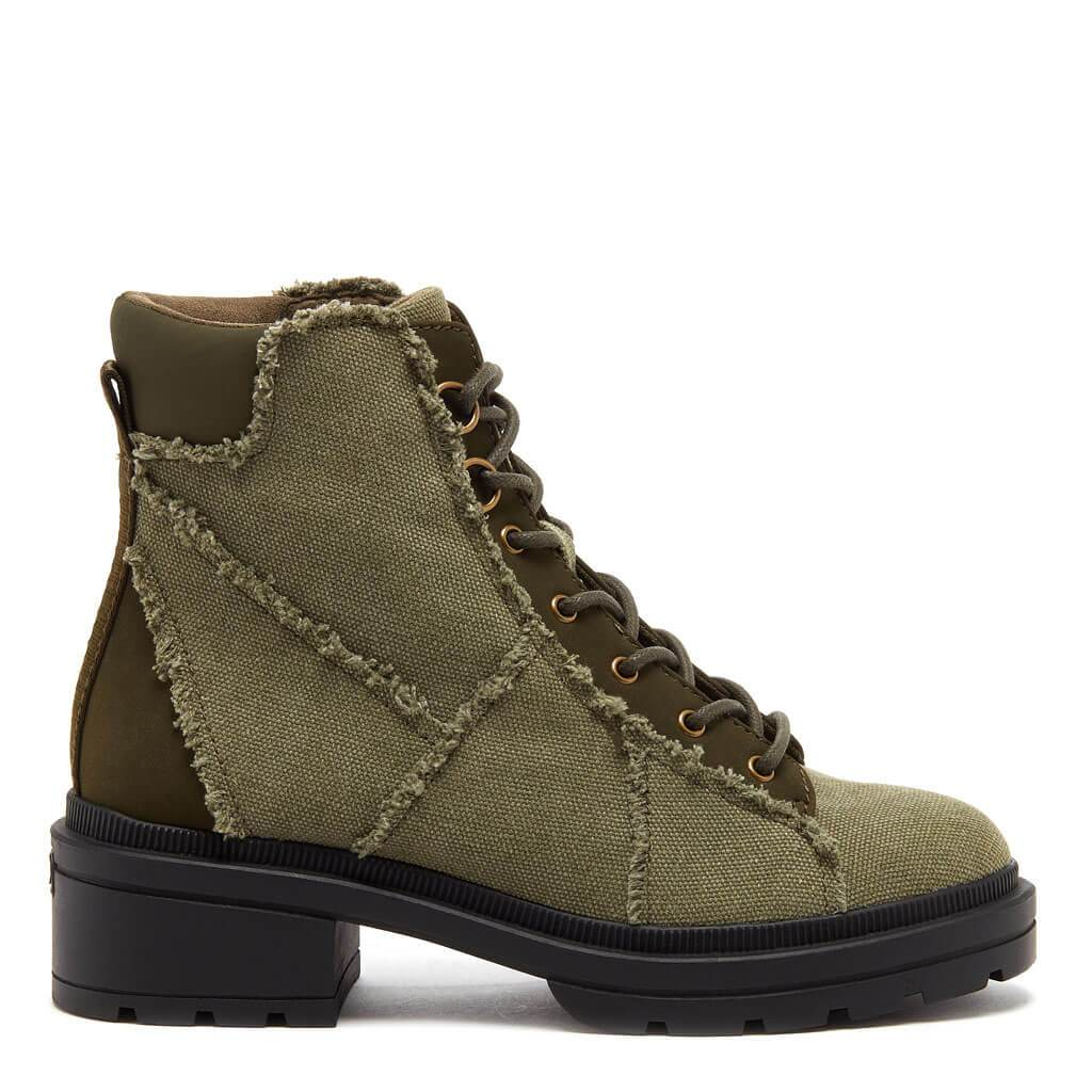 Irys Olive Frayed Canvas Boot