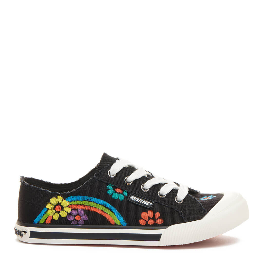 Jazzin Black Flower Art Sneaker